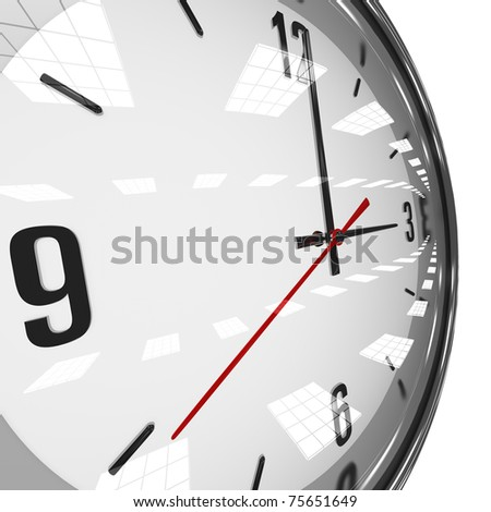 clock with reflection - stock photo