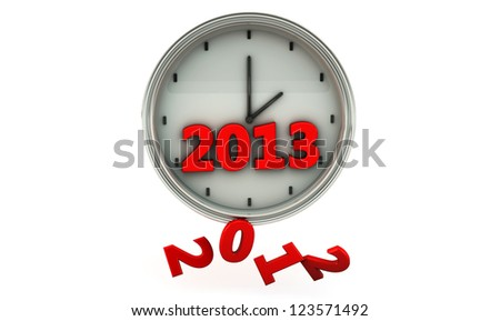 Clock with the new year 2013 and 2012 falling - stock photo
