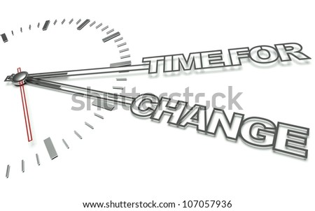Clock with the words Time for change, concept of innovation - stock photo