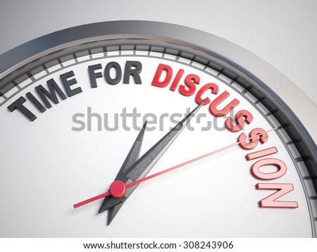 Clock with words time for discussion on its face - stock photo