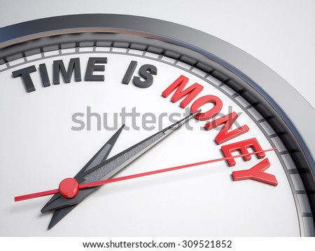 Clock with words time is money on its face