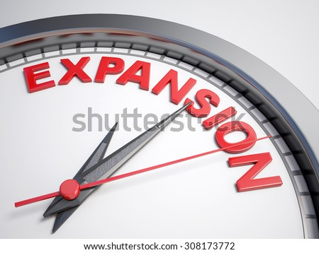 Clock with words time to expansion on its face - stock photo