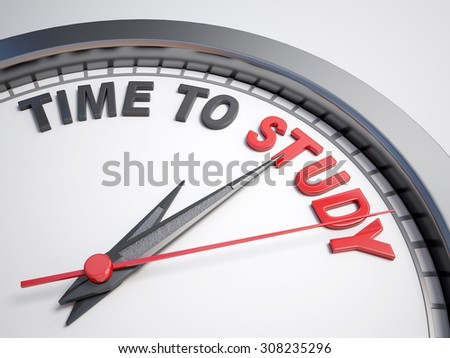 Clock with words time to study on its face