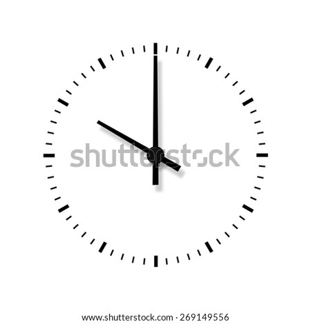 Clock without numbers isolated on white background. Closeup.