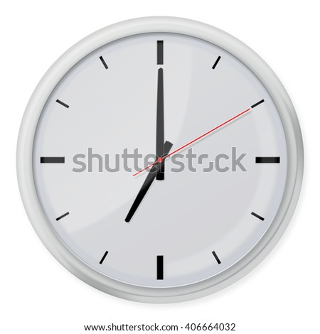 Clock without numbers with shadows isolated on white background. 3d illustration. - stock photo