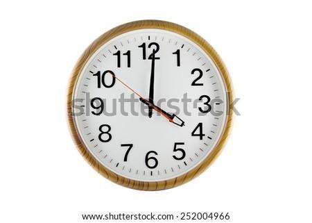 clock wood isolated on white background. - stock photo
