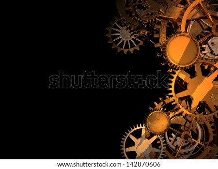 Clock Work Cogs plus print space - 1 - stock photo