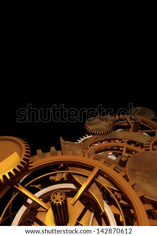 Clock Work Cogs plus print space - 3 - stock photo