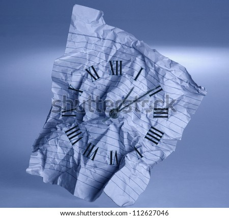 Clockface drawn on a crumpled paper - stock photo