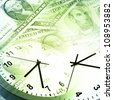 Clocks and banknotes. Time is money concept - stock photo