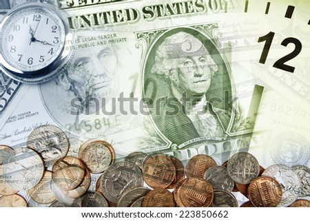 Clocks, coins and American currency. Time is money concept - stock photo