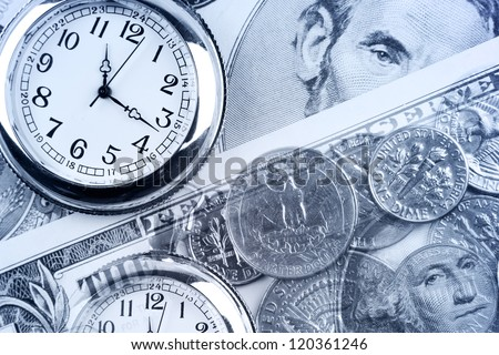 Clocks, coins and banknotes. Time is money concept - stock photo