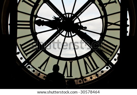 Clocks in cafe in Musee d'Orsay Paris France - stock photo
