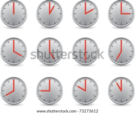 clocks with different time - stock photo