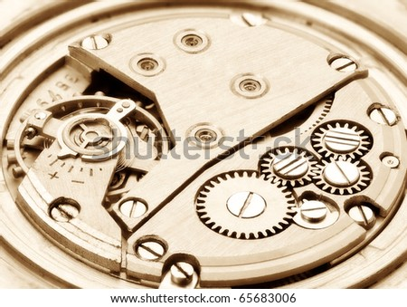 Clockwork. Focus on the whole image. - stock photo