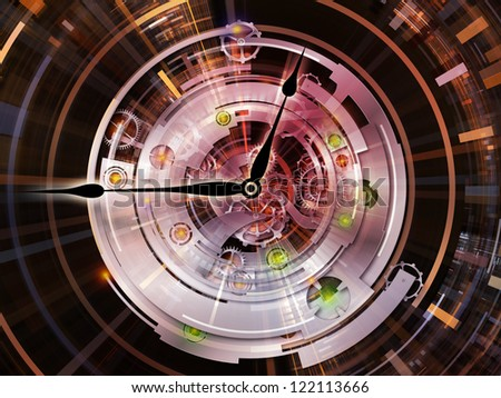 Clockwork Metaphor. Backdrop of  clock gears, numbers and fractal elements to complement your design on the subject of time, modernity, science and technology - stock photo