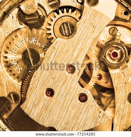 Clockwork of wristwatch super close-up - stock photo