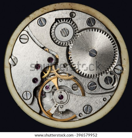 clockwork old mechanical USSR watch, high resolution and detail - stock photo