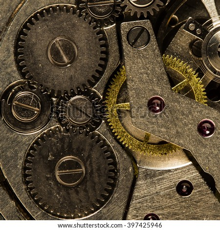 clockwork old mechanical  watch, high resolution and detail - stock photo
