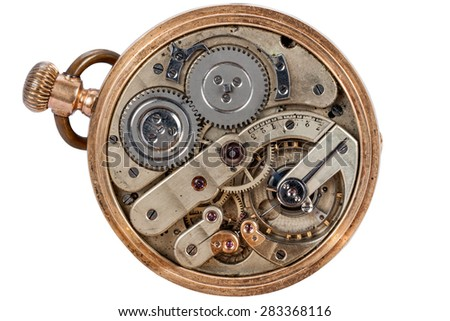 clockwork old pocket watch closeup isolated on white background - stock photo