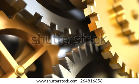 Clockwork or a machine inside. Closeup gears and cogs. Industrial 3d illustration. - stock photo