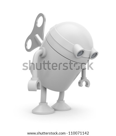 Clockwork robot. Image contain clipping path