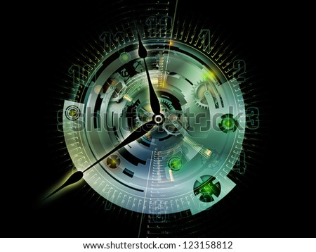Clockwork Series. Arrangement of clock gears, numbers and fractal elements on the subject of time, modernity, science and technology