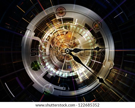 Clockwork Series. Artistic abstraction composed of clock gears, numbers and fractal elements on the subject time, modernity, science and technology - stock photo