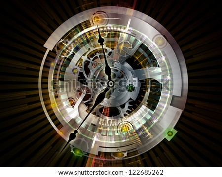 Clockwork Series. Backdrop of  clock gears, numbers and fractal elements to complement your design on the subject of time, modernity, science and technology - stock photo