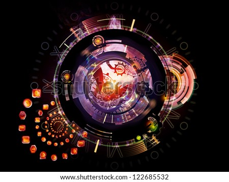 Clockwork Series. Background design of clock gears, numbers and fractal elements on the subject of time, modernity, science and technology - stock photo
