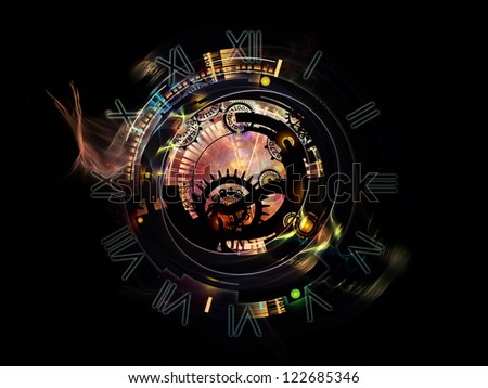 Clockwork Series. Composition of clock gears, numbers and fractal elements with metaphorical relationship to time, modernity, science and technology - stock photo