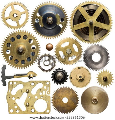 Clockwork spare parts. Metal gear, cogwheels. - stock photo