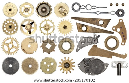 Clockwork spare parts. Set gear, cogwheels, isolated - stock photo