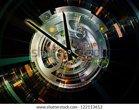 Clockwork Visualization. Backdrop of  clock gears, numbers and fractal elements to complement your design on the subject of time, modernity, science and technology - stock photo