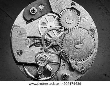 Clockwork with gears and cogwheels in vintage style - stock photo