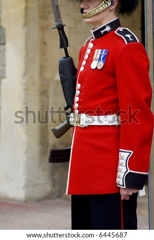 Cloe up of a British guard (England) - stock photo