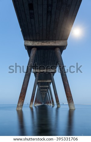 Cloghan Point Jetty near Whtehead. Belfast Lough, County Antrim, Northern Ireland. - stock photo