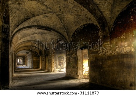 cloister - stock photo
