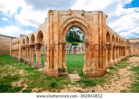 cloister of San Juan de Duero Monastery in Soria. Spain - stock photo