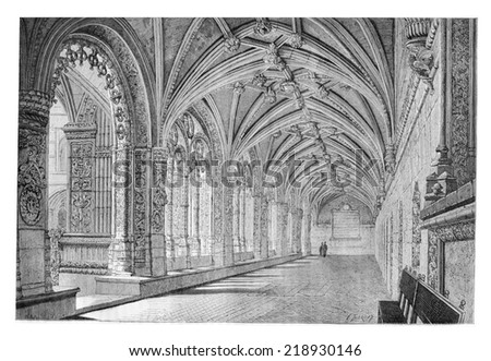 Cloister of the Santa Maria de Belem Monastery in Lisbon, Portugal, drawing by Therond based on a photograph, vintage engraved illustration. Le Tour du Monde, Travel Journal, 1881 - stock photo