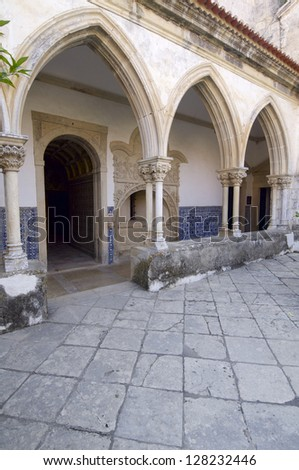 Cloister of the Templar convent  of Christ, Tomar, Ribatejo, Portugal - stock photo