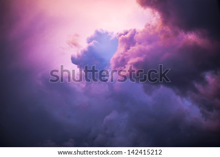 Clolored night clouds, nature series - stock photo