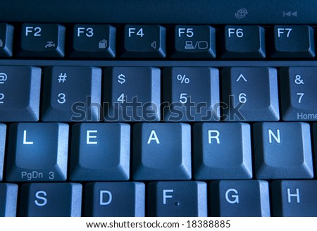 clos up view of keys on keyboard spelling the word learn