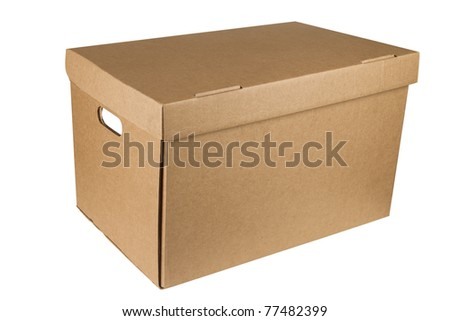 Close carton box isolated on white background.  Cardboard packages \ Close carton box - stock photo