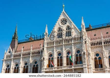 Close details of the building of the Hungarian Parliament in bright summer sunny morning lights, Budapest, Hungary - stock photo