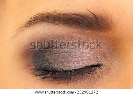 close female eye with make-up, macro - stock photo