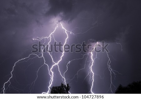 Close lightning over the trees, very bright bolts. - stock photo