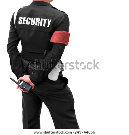 Close of of policeman's hand on his transmitter. Security agent surveillance guard isolated on white background. This has clipping path. - stock photo