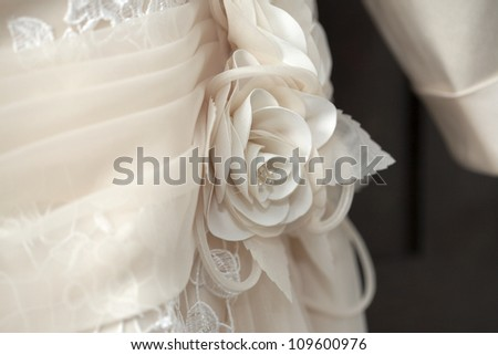 Close of wedding dress details - stock photo