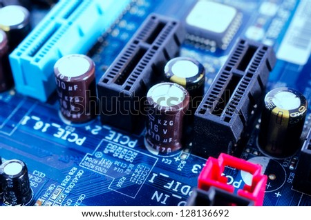 Close on to diodes on the motherboard